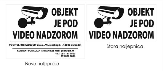 primjer naljepnice za video nadzor