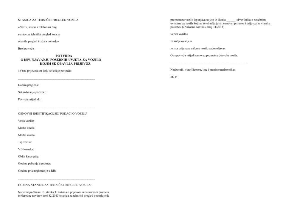 potvrda o ispunjavanju posebnih uvjeta za vozilo kojim se obavlja prijevoz
